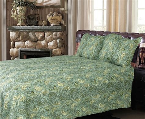Green Coverlets by Green 100 Cotton 3 Quilt Set Bedspread