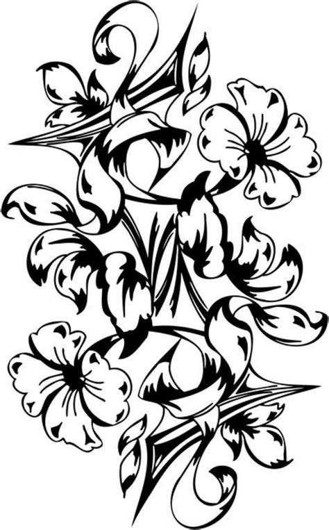 Hawaiian Tribal Flower Tattoos For Women | Coloring Pages - Clip Art Library