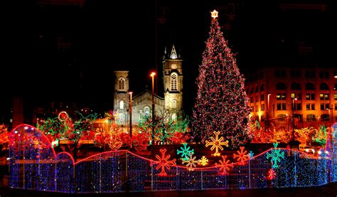 old stone church and cleveland public square on christmas