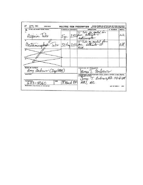 figure 3 4 the multiple item prescription form af form