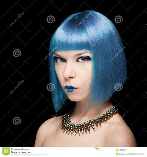 Anime Model With Blue Hair Stock Photo Image 45287970
