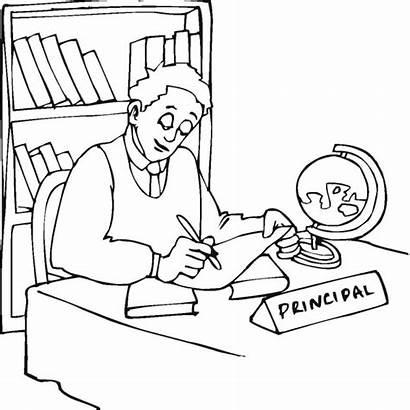 Principal Office Clipart Drawing Coloring Clip Principals