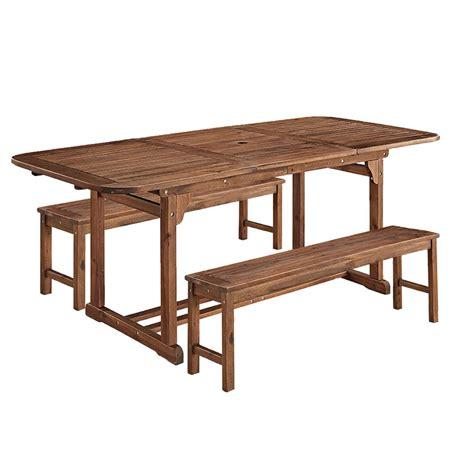 walker edison 3 acacia wood patio dining set