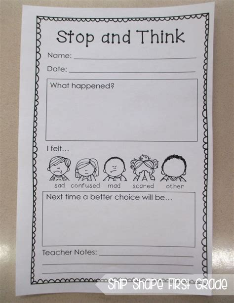 First Grade Behavior Think Sheet