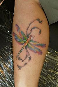 Colorful nice dragonfly tattoo - Tattooimages.biz