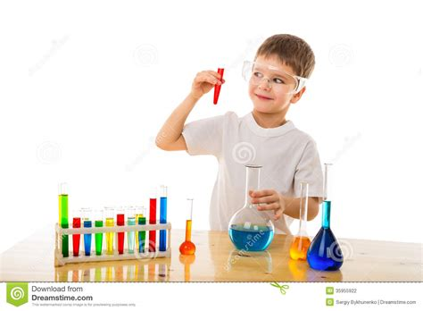 Boy Making Chemical Experiment Stock Photography - Image