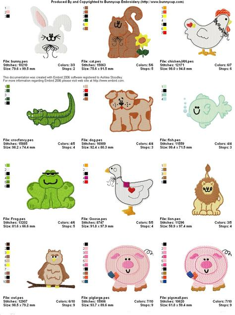 country animals embroidery designs bunnycup embroidery