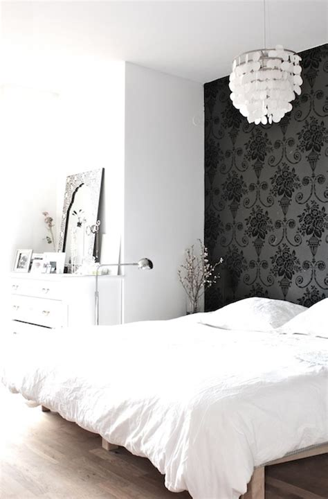 wallpaper accent wall transitional bedroom
