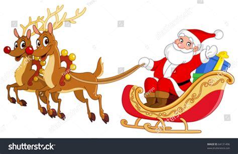 Santa Riding His Sleigh Stock Vector 64131496