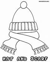 Scarf Coloring Template Colouring Winter Hat Gloves Scarves Templates Colorings sketch template