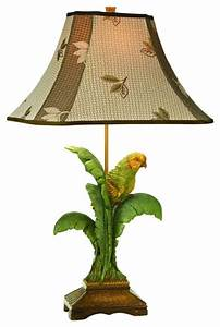 Coastal kathy ireland tropical parrot table lamp for Tropical floor lamp with table