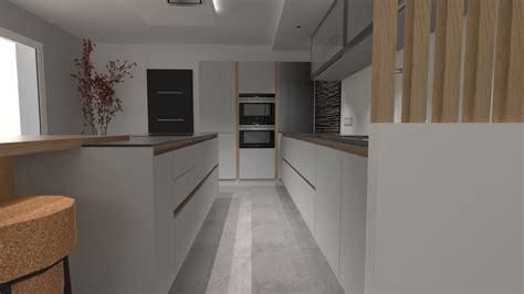 architecture de cuisine moderne cuisine design gris clair et bois avec grand îlot et
