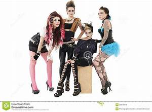 Portrait Of All Female Rock Band Over Posing Together Over ...