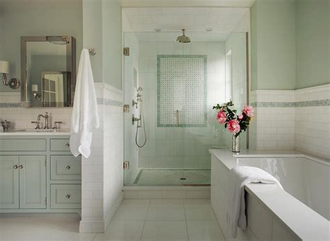 Spa Green Bathroom by Green Bathroom With Blue Mosaic Tiles Transitional