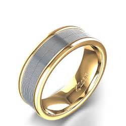 yellow and white gold wedding bands grooved polished 39 s wedding ring in 14k yellow white gold