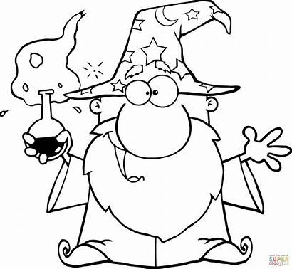Wizard Coloring Pages Crazy Magic Potion Clipart