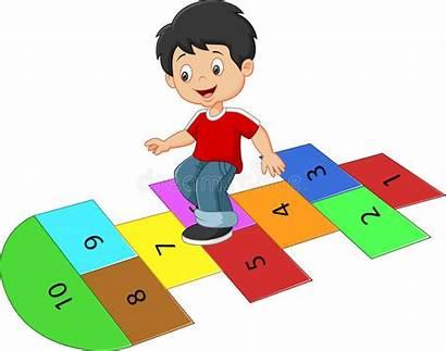 Hopscotch Cartoon Boy Child Play Funny