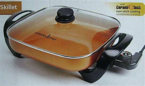 copper chef electric skillet  cerami tech copper  stick  square  copperchef