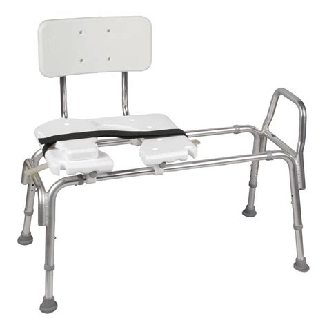 dmi heavy duty sliding transfer bench with cut out seat 522 1734 1900 the home depot