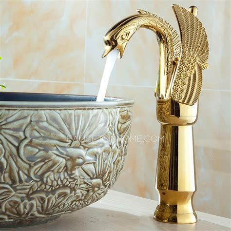 cold water faucet luxury gold swan design vessel bathroom sink faucet