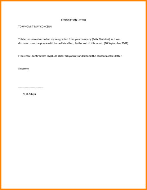 resignation letter   effect  notice