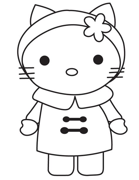 Winter Hello Kitty Wearing Coat Coloring Page H & M