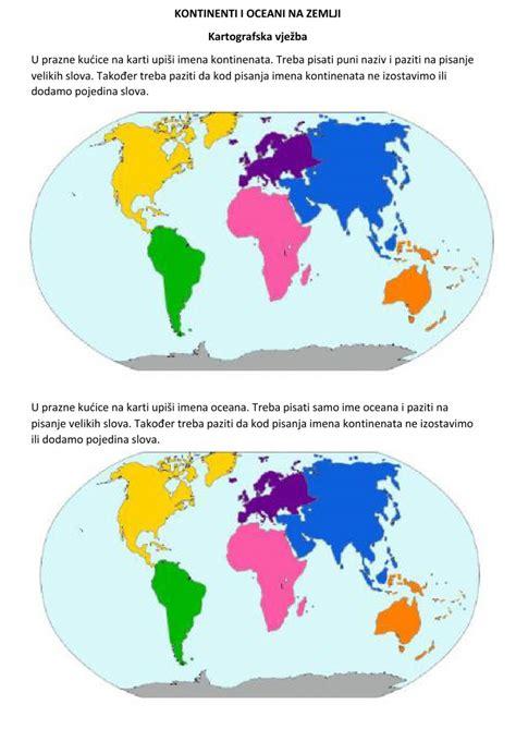 Kontinenti i oceani worksheet