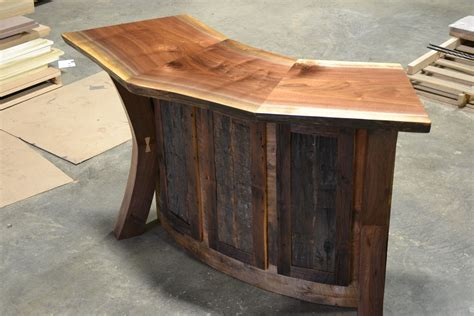 Personalized Bar Stool by Hand Crafted Live Edge Walnut And Reclaimed Curved Bar