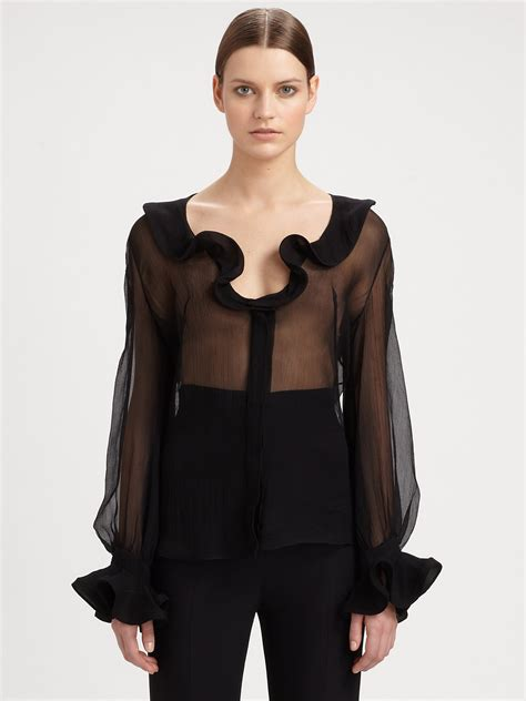 ruffled blouses mcqueen silk ruffle front blouse in black lyst