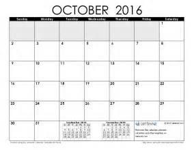 October 2016 Calendar Printable Template
