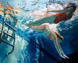 Underwater Swimmer Oil Paintings - Contemporary - Artwork