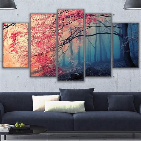 Wall decals for modern homes, kids decals and original nursery decals www.cherrywalls.com. 5 Pieces Cherry Blossoms Pictures Decor Red Trees Forest Painting HD Prints For Living Room ...