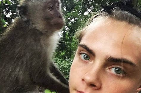 delevingne posts wild monkey jungle selfie instagram