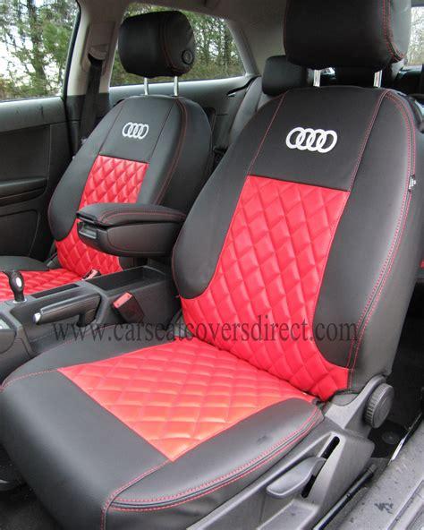 audi  seat covers black red  diamond stitching