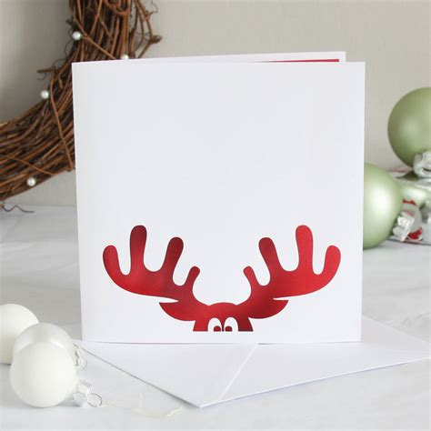 reindeer papercut christmas card by whole in the middle