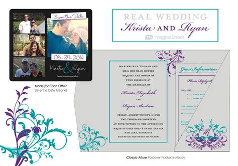 Wedding Invitation Templates Purple And Teal Wedding