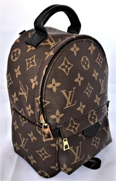 louis vuitton palm springs  lv mini monogram black brown leather canvas backpack tradesy
