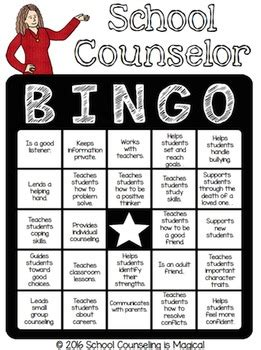 school counselor bingo  school counseling  magical tpt