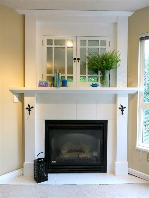 Faux Mercury Glass Old Cabinet Doors White Tile Fireplace