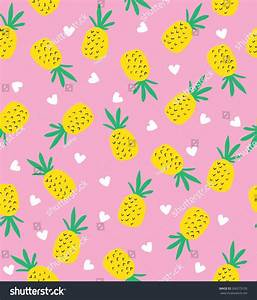 Seamless Pineapple Pattern Cute Pineapple Pattern Stock