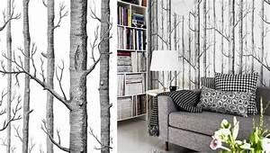 Papier Peint Arbre Noir Et Blanc : papier peint original en 50 id es magnifiques ~ Nature-et-papiers.com Idées de Décoration