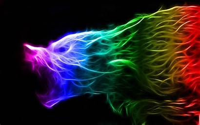 Wolf Colorful Fractal Neon Wallpapers Deviantart Backgrounds