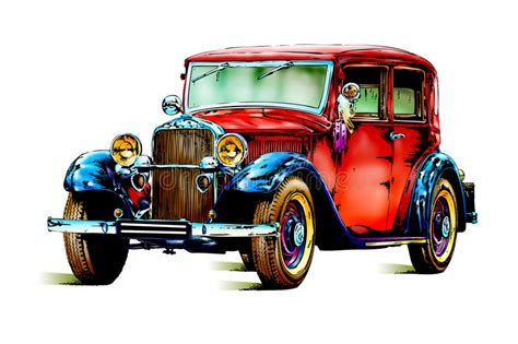 Old Classic Car Retro Vintage Stock Illustration