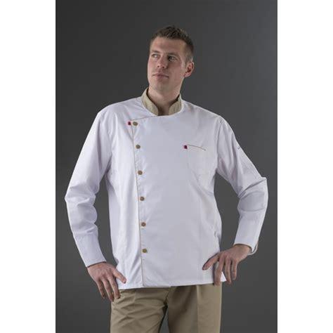 veste cuisine manches longues blanche col beige label blouse net