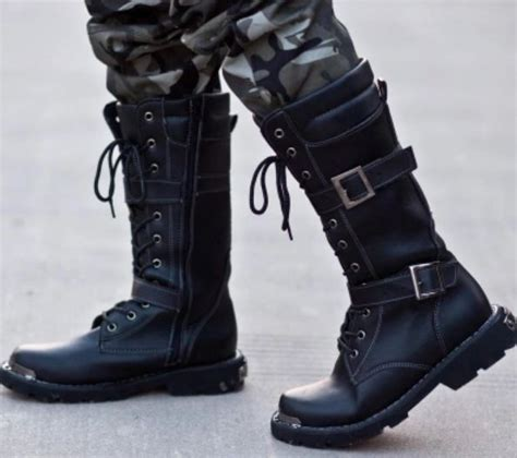 Mens Leather Winter Outdoor Knee High Combat Military