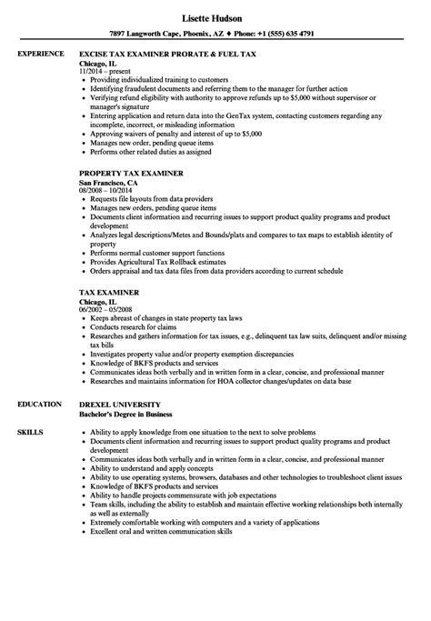 tax examiner resume samples velvet jobs