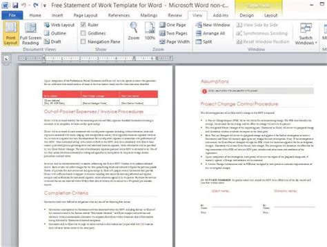 statement  work template  word