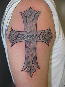 Stone cross with engraved family tattoo by dannewsome on ...