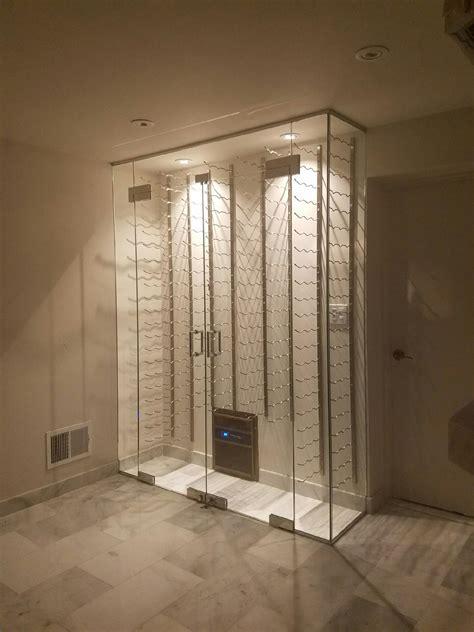 custom glass wine cellar enclosure stainless steel