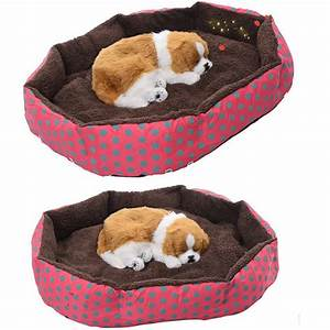 40x30x10cm dot print design soft fleece winter warm dog With plush dog house bed